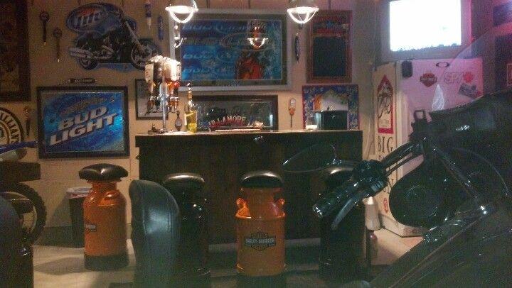 Our Harley garage bar