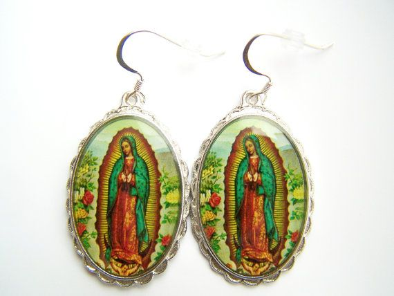 Virgin of Guadalupe Earrings Virgen de Guadalupe by polishedtwo