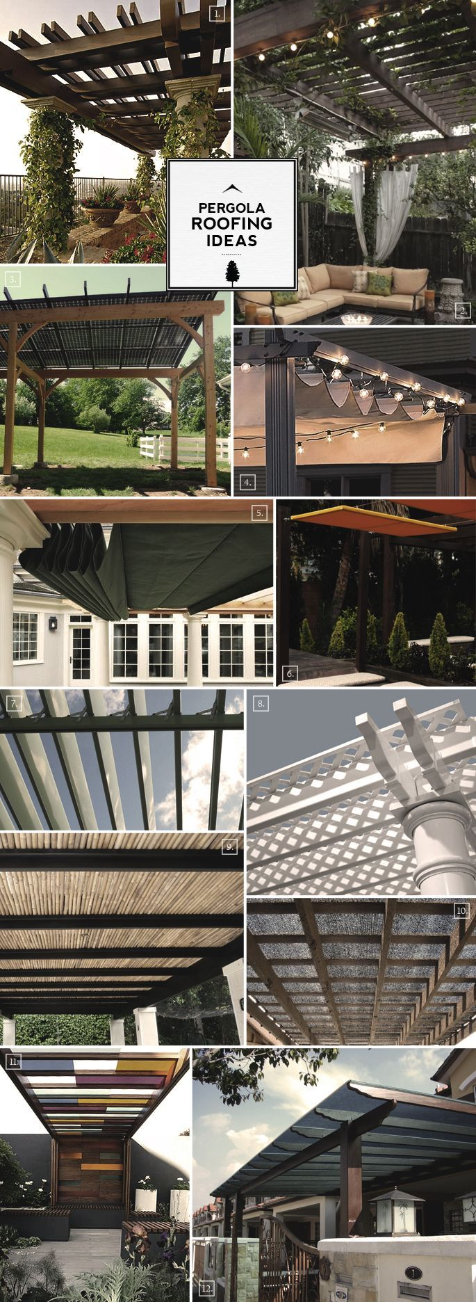 Pergola roofing ideas. From canvas panels to motorized beams, creative ways of making more shade.