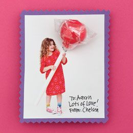 Ginormous lolli valentines.  Take photo of child holding pvc pipe..print.. punch hole at top of pipe and insert lolli
