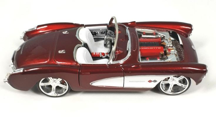 "1957 Chevrolet Chevy Corvette Convertible Die-cast Model Car 1:24 Maisto 7"" Red  #Maisto #Chevrolet"