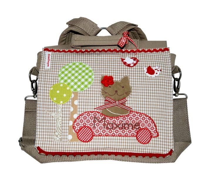 Rucksäcke - Kindergartenrucksack mit Namen-Rotes Katzenrennen- - ein Designerstück von wohnzwerg bei DaWanda