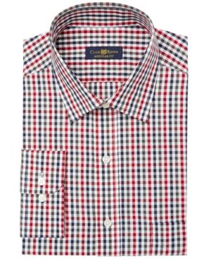 Club Room Men's Classic/Regular Fit Double Gingham Dress Shirt, Created for …