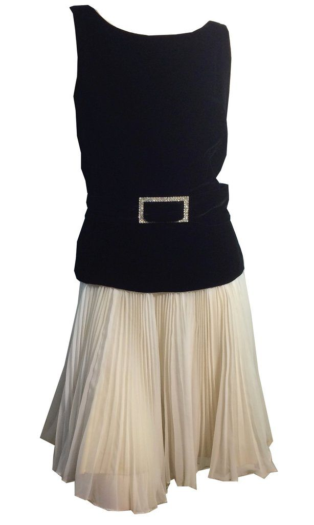 Cocktail Perfect Black Velvet and Pleated White Chiffon Mini Dress w/ Rhinestones circa 1960s