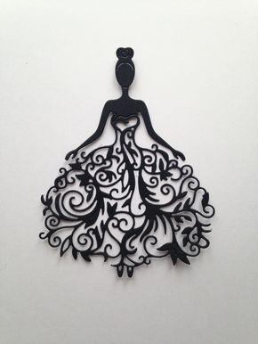 lot 3 découpes femme robe mariée scrapbooking embellissement album scrap die cut déco : Embellissements par lafscrap