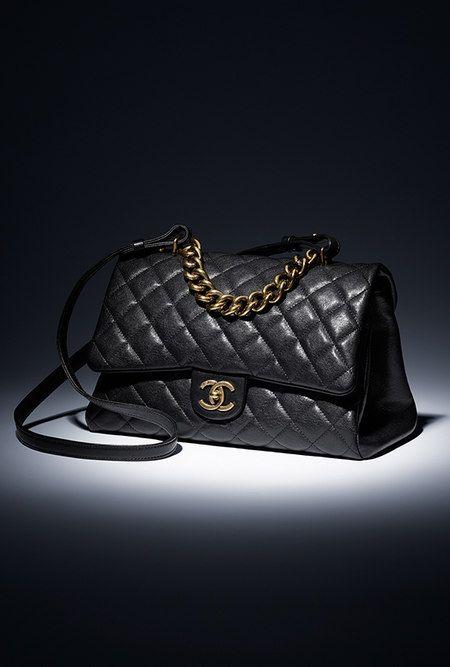 Flap bag with handle, sheepskin & gold metal-black - CHANEL