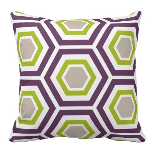 Purple, Green and Taupe Hexagon Pattern Throw Pillow - Purple Bedroom Ideas