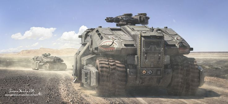 Heavy Duty by rOEN911 military army armored vehicle gun turret desert sand landscape location environment architecture | Create your own roleplaying game material w/ RPG Bard: www.rpgbard.com | Writing inspiration for Dungeons and Dragons DND D&D Pathfinder PFRPG Warhammer 40k Star Wars Shadowrun Call of Cthulhu Lord of the Rings LoTR + d20 fantasy science fiction scifi horror design | Not Trusty Sword art: click artwork for source