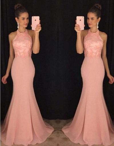 Halter Mermaid Prom Dress,Pink Lace Prom Dress,Custom Made Evening Dress,Sleeveless dress.Fishtail dress
