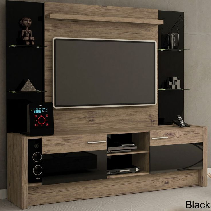 Create the perfect home theater for your family with this entertainment center. The light wood paired with a black finish is a contrasting focal point for your contemporary decor. Choose the nude fini
