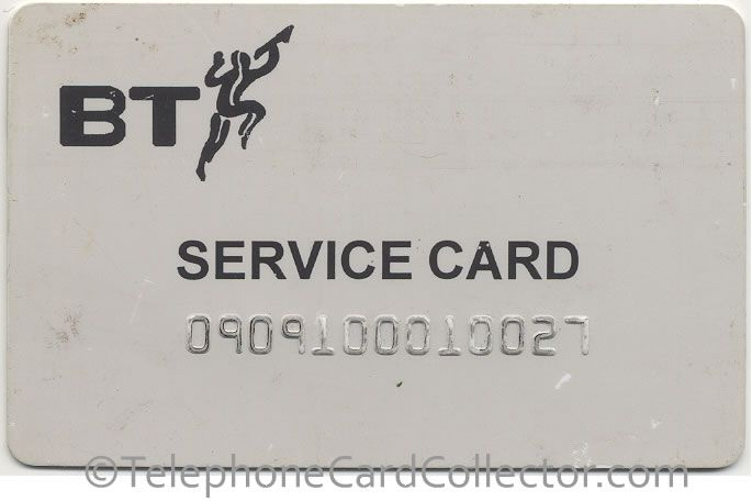 BT Magnetic card (MAG003), this card was used to test the credit card readers on BT Payphones. Read more and see photos of the reverse of the card: http://www.telephonecardcollector.com/british-telecom-test-cards.htm#magnetic-test-card