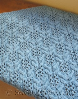 Love this cable & lace pattern- PDF Knitting Pattern for Textured Lace Baby Blanket from SweaterBabe.com