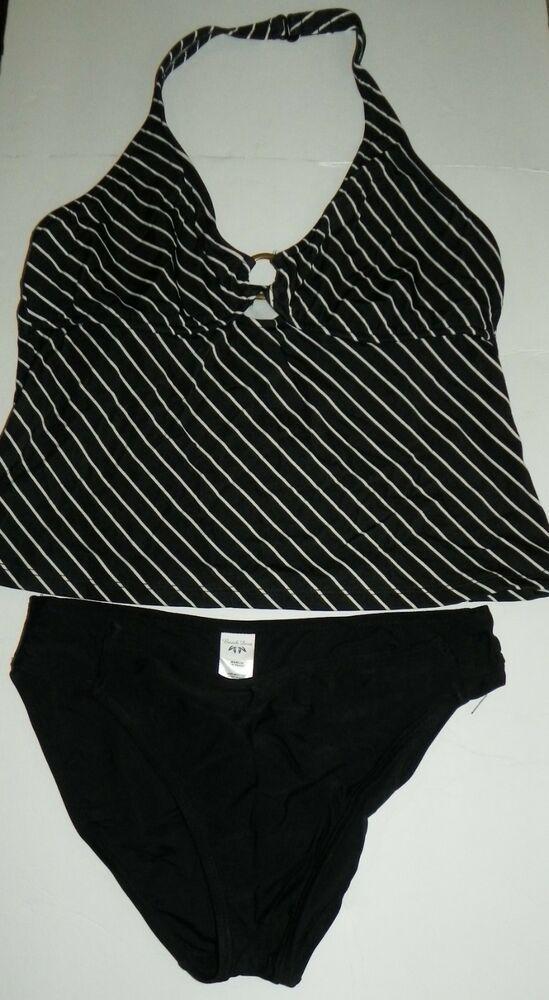 cc6764a3c0 Beach Diva 2 Piece Tankini Swimsuit. Pattern: Striped. Material: 80% Nylon  20% Spandex. Color: Black - White.   eBay!
