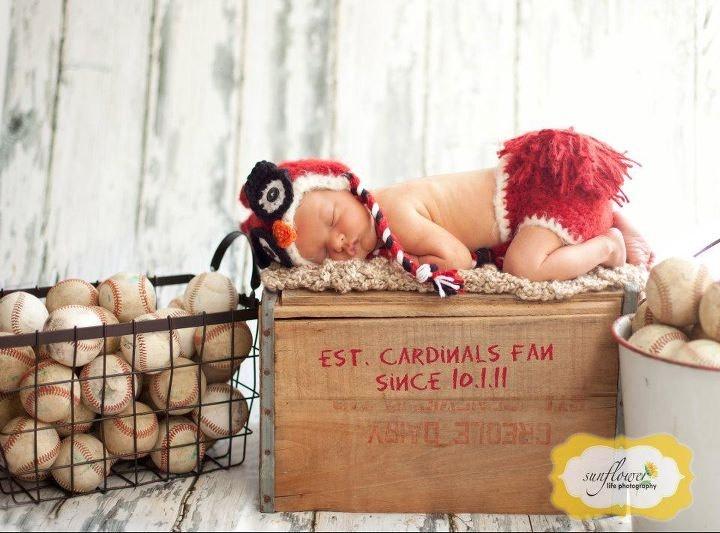 STL Cardinals Newborn Hat and Diaper Cover Set