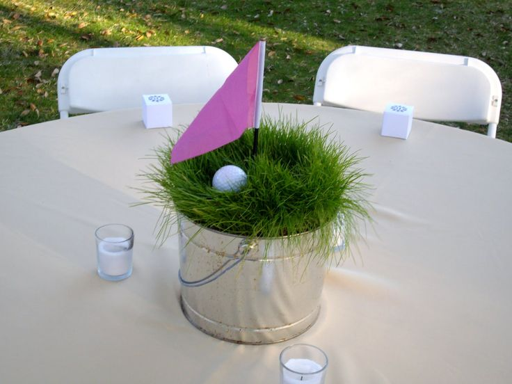 "Perfectly Unplanned: Our Rehearsal Dinner We grew the grass in these tins for a few weeks prior to the dinner and used them to create a mini golf ""hole"" for each table, using a mini golf flag, a tee and golf ball."