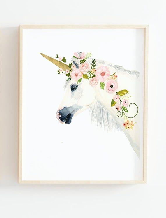 Einhorn Kindergarten Einhorn Malerei Aquarell Flamingo