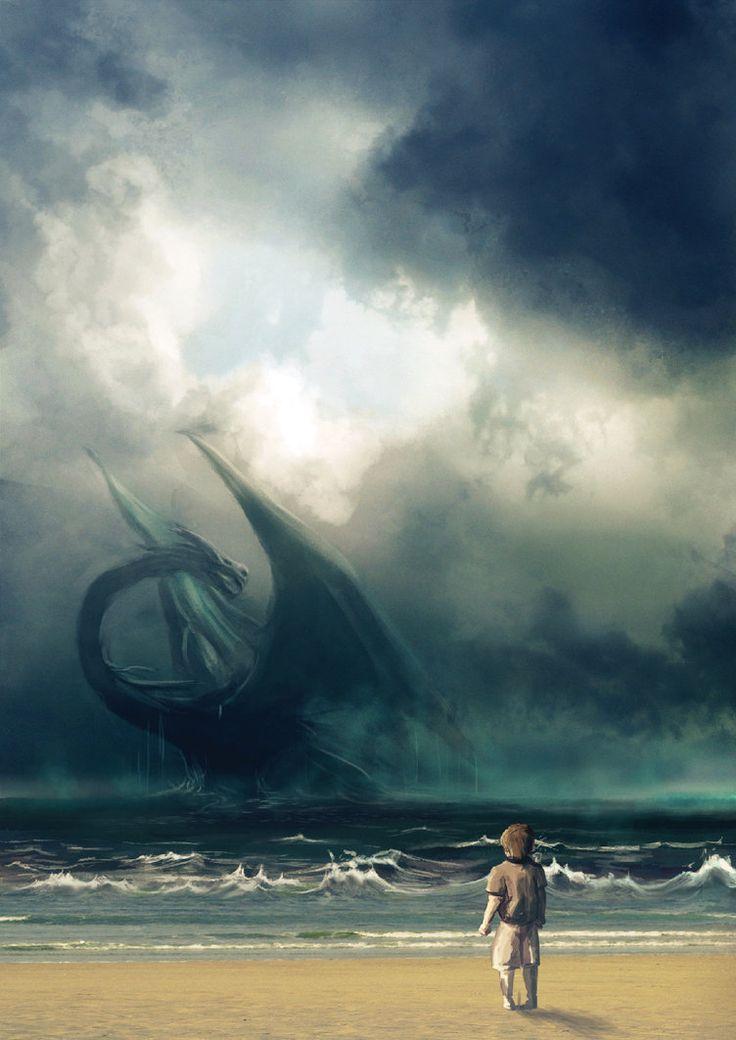 "The Sea Dragon - poster for ""Cidre & Dragon"" fantasy festival (Merville sur mer, Normandy, France)"