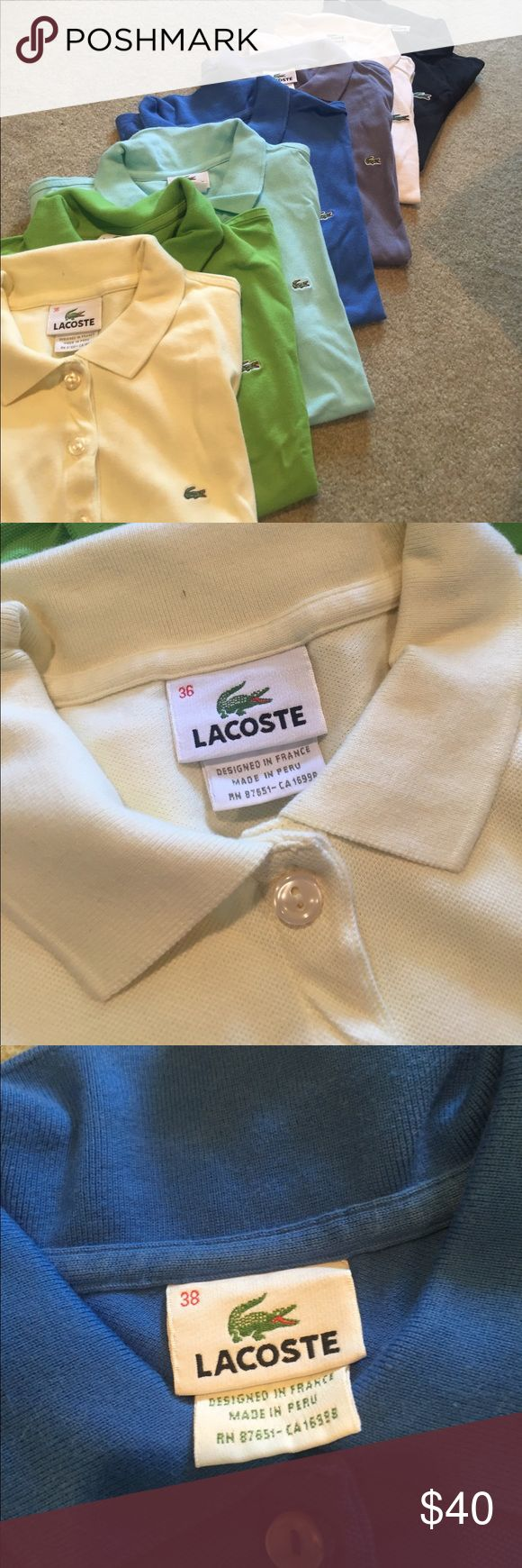 Lacoste polos 7 gently used Lacoste polos for sale, ranging from sizes 34-38. Will give bundle deals, price listed is for one shirt! Yellow 5 button size 36; green 2 button size 36; light blue 5 button size 36; blue 5 button size 38; grey 5 button size 34; white 3 button size 38; black 3 button size 36 Lacoste Tops Tees - Short Sleeve