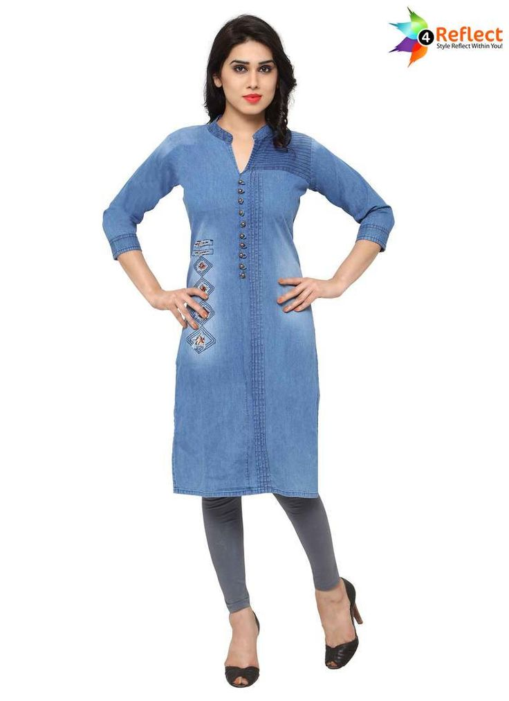 ENTICING BLUE DENIM PARTY WEAR KURTI