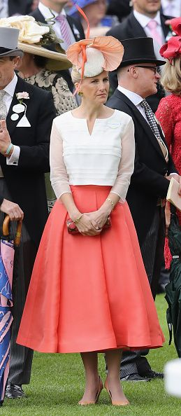 ASCOT, ENGLAND - JUNE 16:  Sophie, Countess of Wessex attends the third day of Royal Ascot at Ascot Racecourse  on June 15, 2016 in Ascot, England.  HRH wears Bespoke Suzannah with Jane Taylor millinery