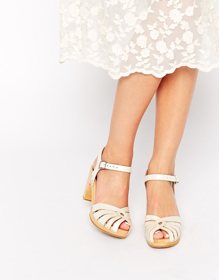 Image 1 of Swedish Hasbeens White Fredrica High Heeled Sandals