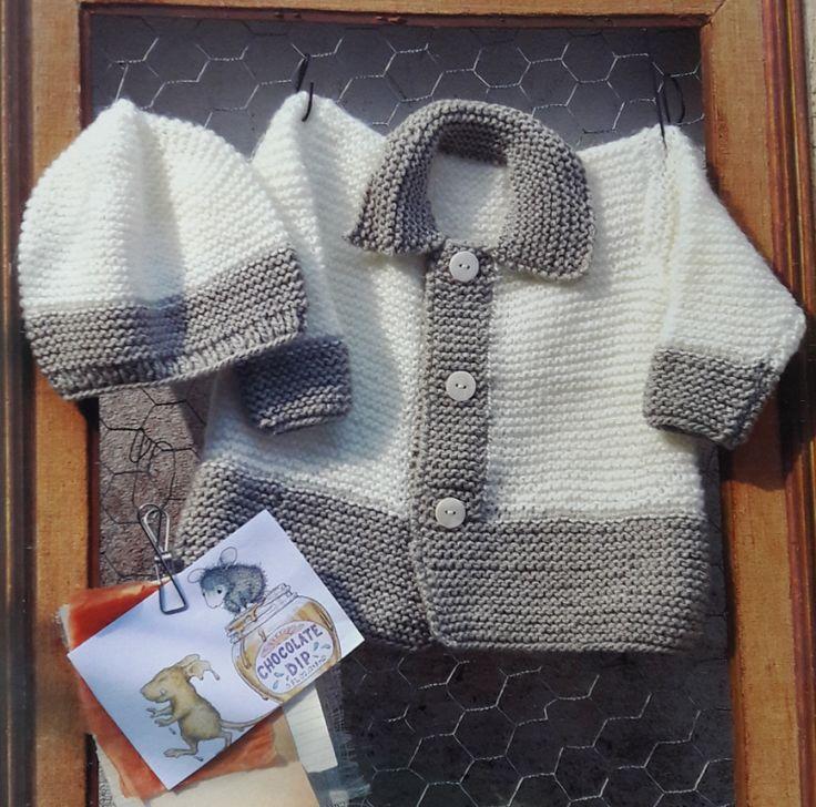 Patrón para tejer conjunto de saquito y gorro para bebé