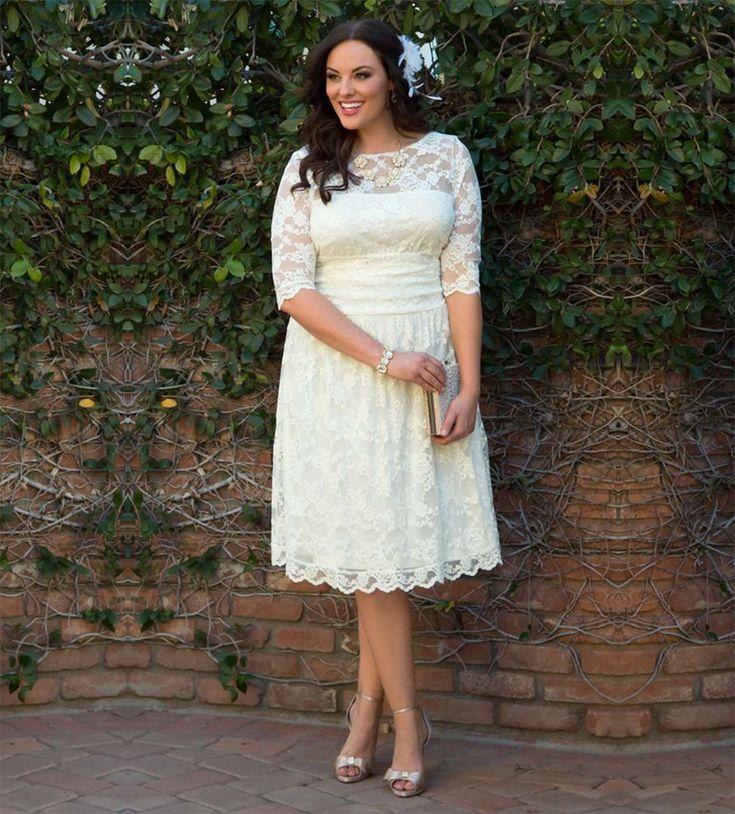 Find a Elegant Short Ivory Lace Plus Size Wedding Dresses Half Sleeve Knee Length Wedding Dress Plus Size Cheap Bridal Dresses Online Shop For U !