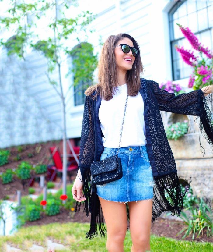 Camila Coelho - Look do dia: saia jeans e kimono