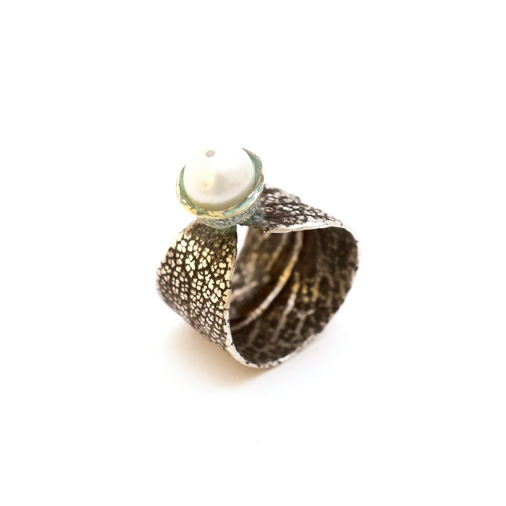 SilverBronze Sage Pearl Ring Oxidised Silver Ring made from sage leaf that carries a bronze tree fruit with a white pearl.