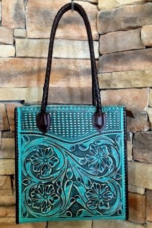 Leather Tooled Tote by Appaloosa Trading