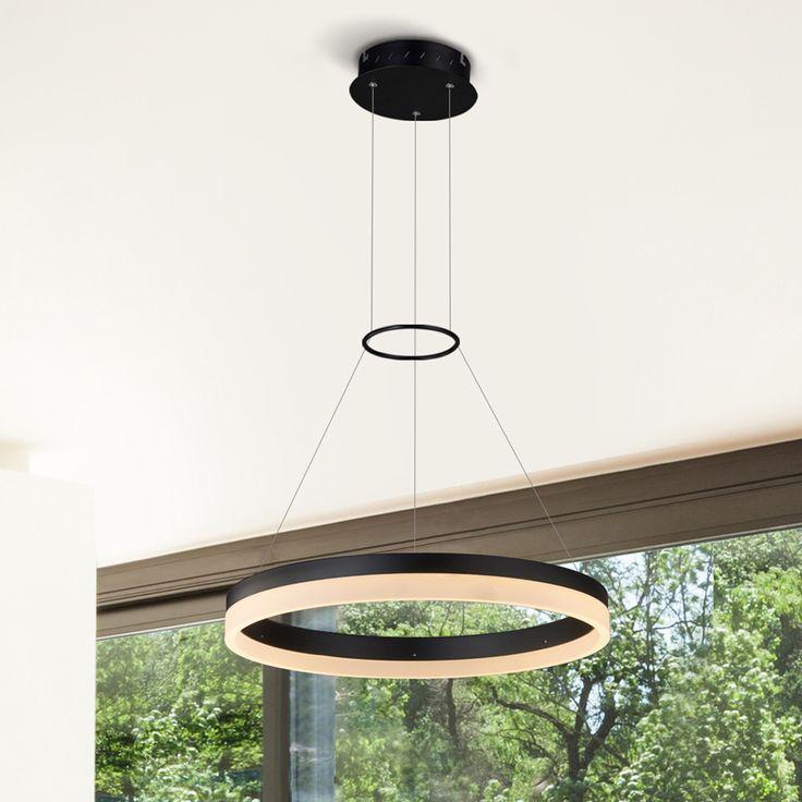 Tania VMC31630BL 18″ LED Chandelier, AdjustableSuspension Fixture, Modern Circular Chandelier Light in Black