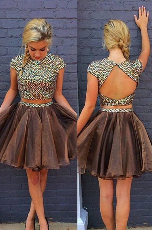 Charming Prom Dress,Two Piece Backless Cute Prom Dress,Mini
