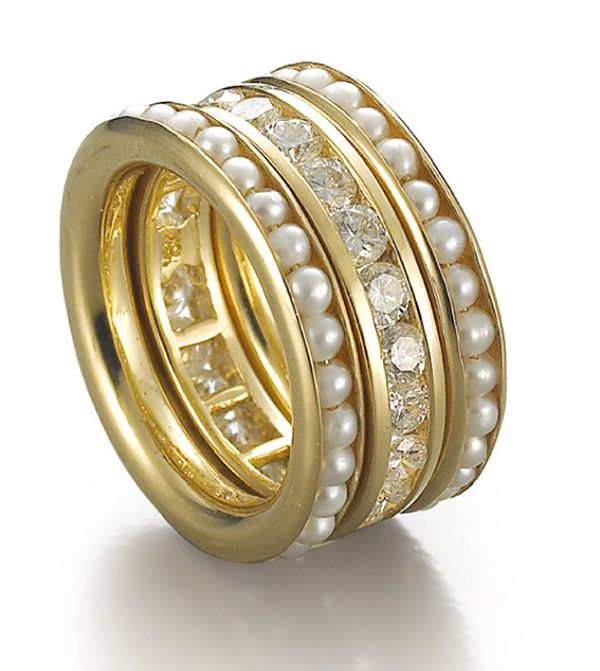 Sowon Joo Studio (Korea) | Stack Rings in 18K with pearls and diamonds