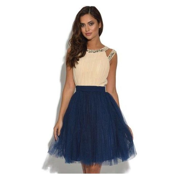 Cream and Navy Chiffon Prom Dress ❤ liked on Polyvore featuring dresses, cocktail prom dress, navy cocktail dresses, navy blue prom dresses, cream prom dresses and cream cocktail dress