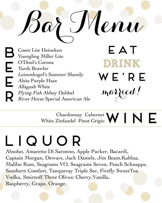 The 25+ best Wedding bar menu ideas on Pinterest Wedding drink - beer menu