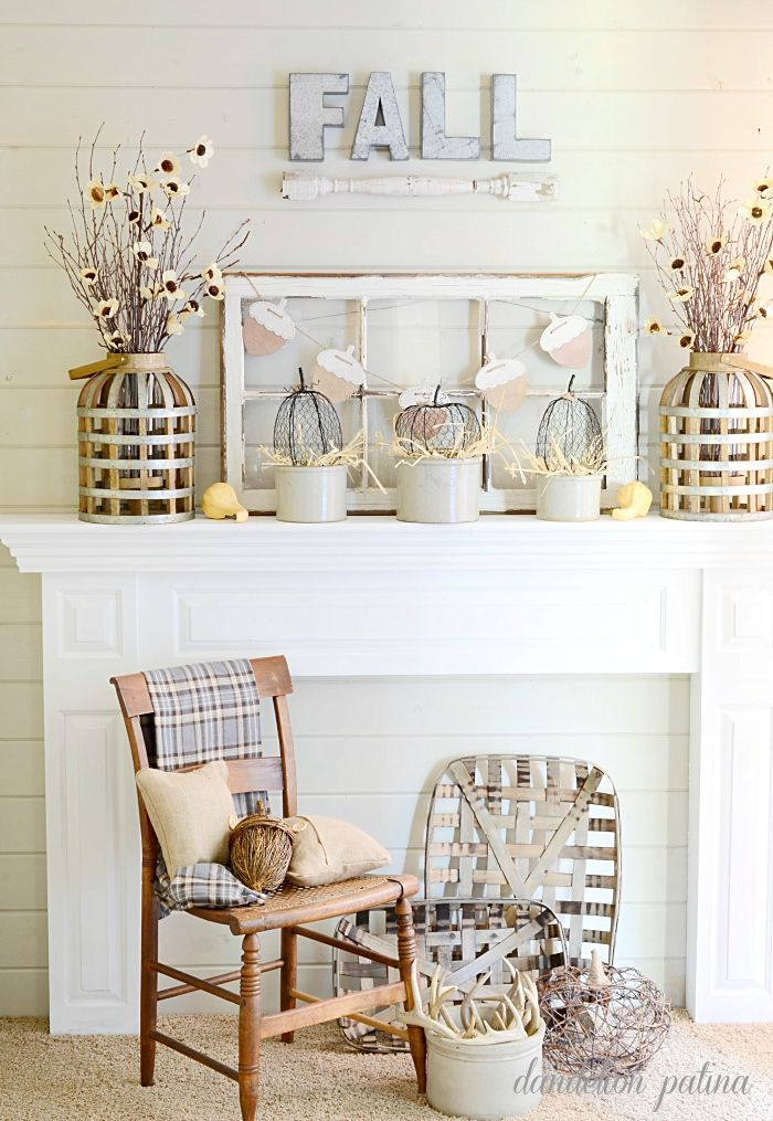 Do you love neutral decor? This neutral famhouse fall mantel is to die for! She shopped her home to blend these pieces into a gorgeous fall mantel. Styling by dandelionpatina.com #farmhousestyle #fall