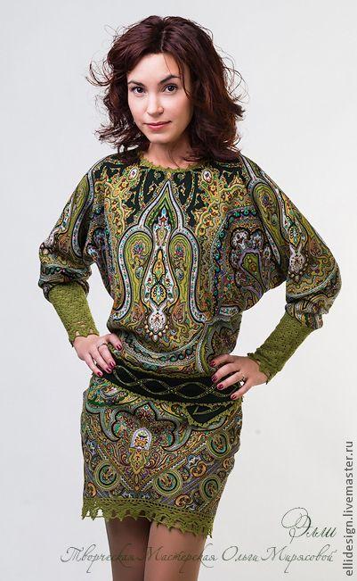 """Купить Платье """"Лесная нимфа"""" - орнамент, платок павловопосадский, Павлопосадский платок, одежда из платков, платье"""