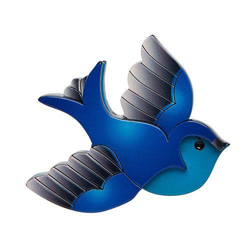 """Erstwilder; """"Betty Jo Sparrow"""" brooch in blue"""