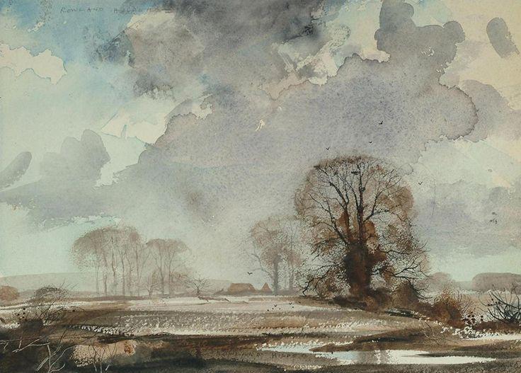 Winter landscape with dark clouds, Rowland Hilder