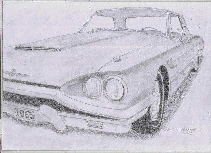 how to draw a thunderbird car