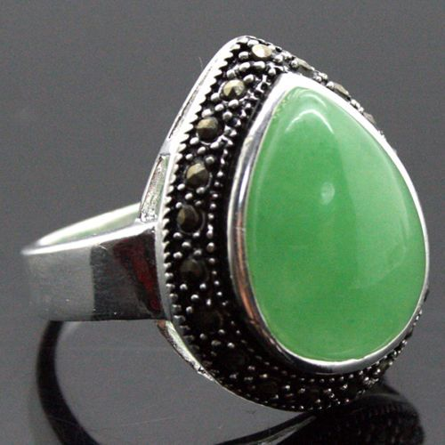 FREE SHIPPING>>>@@ fashion jewelry 25*20mm HUGE DROP GREEN stone 925 SILVER RING SIZE 7/8/9/10 unsex jewelry for gift #