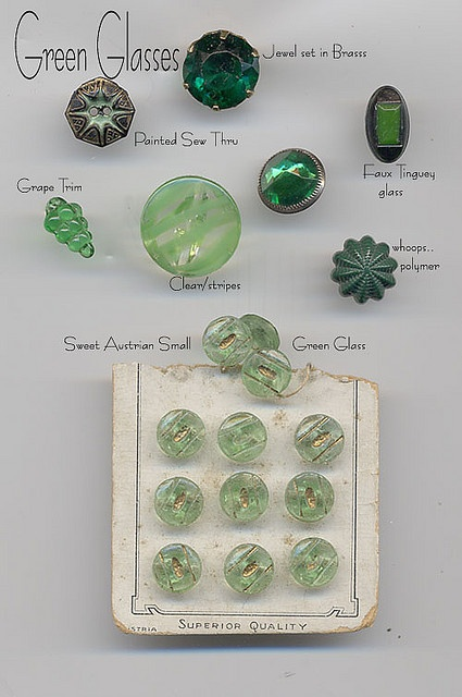Green Glass Buttons.