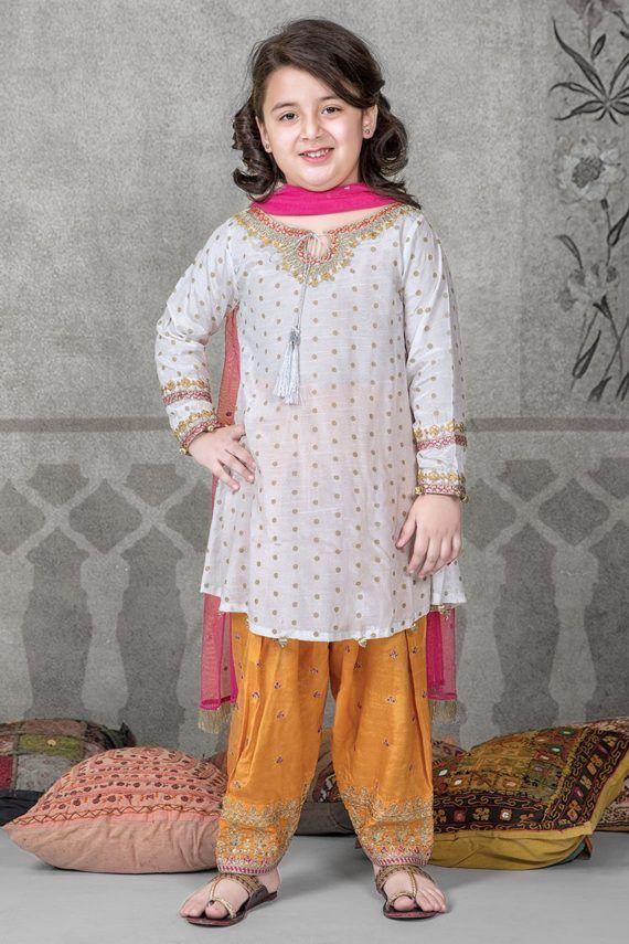 Maria B Replica Embroiderer Linen Kid S Suit 1 399 00 Embroidered 2 Piece Un Stitched Suit This Pakistani Kids Dresses Dresses Kids Girl Kids Designer Dresses