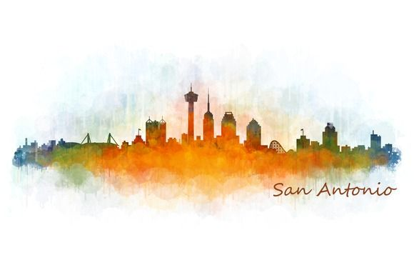 San Antonio Texas Cityscape Skyline by HQPhoto Store on @creativemarket