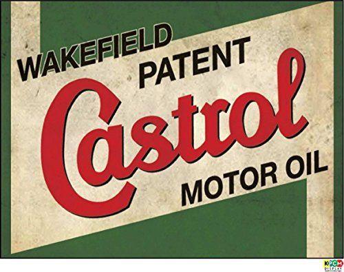 KPCM Display Panneau vintage en plastique rigide 1.2mm d'épaisseur avec inscription Castrol oil300mm x 200mm: Castrol huile, rétro…