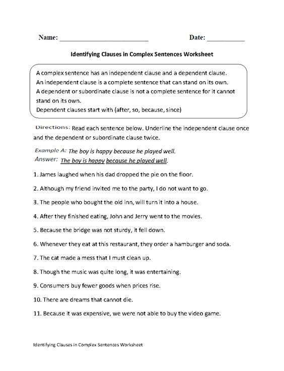 9 best worksheets images on pinterest english language activities identifying clauses in complex sentences worksheet fandeluxe Images
