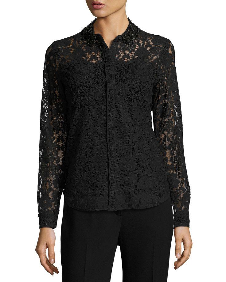 Avon Embellished Lace Blouse, black