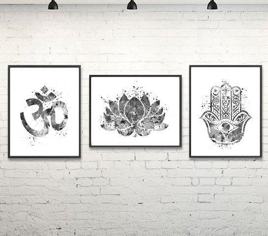 Om Meditation Watercolor Poster, Yoga, Hamsa, Relax, Buddha, Yoga Studio, Home Decor, Wall Art, Painting, Black, White, Home & Living