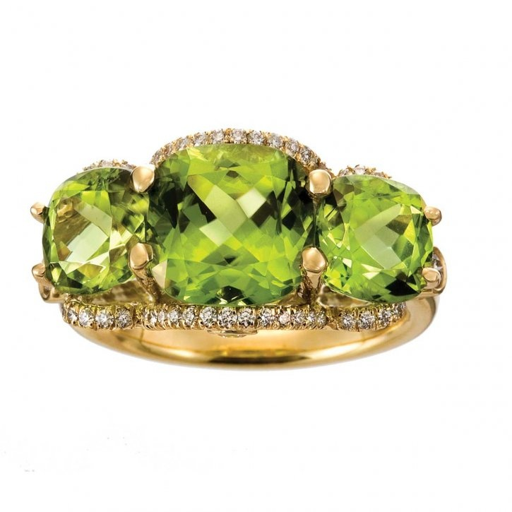 Peridot and diamond ring by Jane Taylor