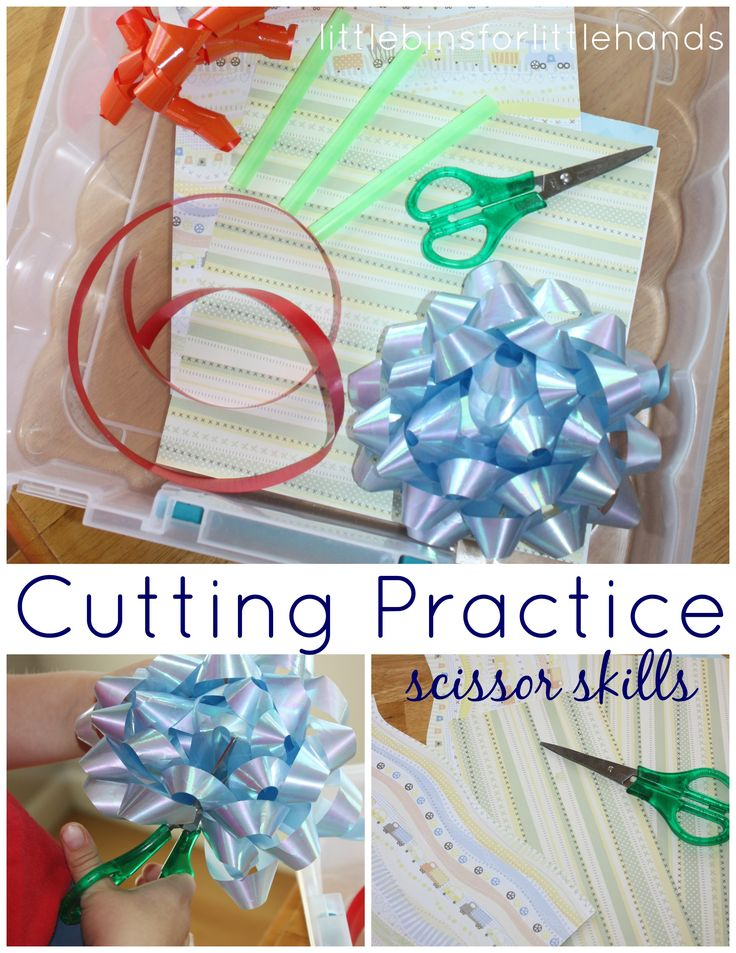 Scissor Activities Cutting Practice For Kids with bows, ribbon, craft paper and straws for fun skills learning.